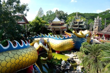The sinuous dragon at Kuan Im Chokchai a temple in Chiang Mai