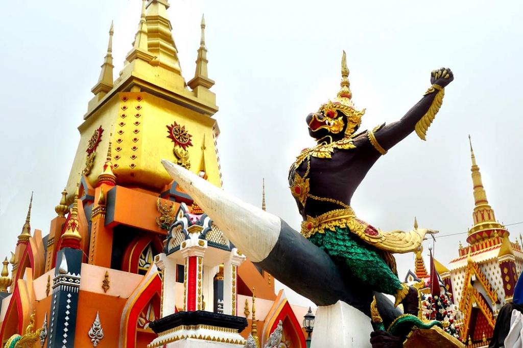 Demon on rocket at Wat Huay Sai Khao, Chiang Rai, Thailand
